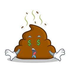Money eye poop emoticon character cartoon vector
