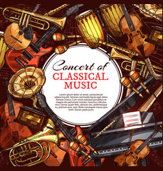musical instrument poster for music concert design vector image vector image