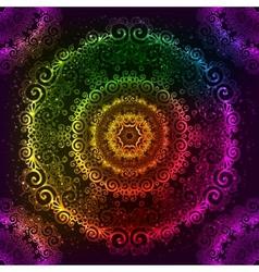 Ornate rainbow neon mandala vector image
