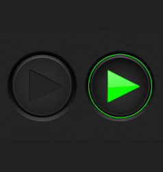 Play button black button with green backlight vector