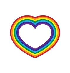 Rainbow icon heart flat design vector image vector image
