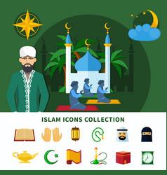 religions icon set vector image vector image