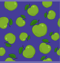 Seamless pattern apple on purple background vector