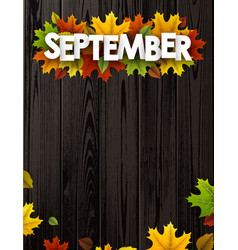 September background with colorful leaves vector
