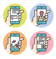 set icons of hand holding smartphone linear vector image