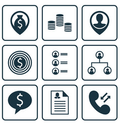 Set of 9 management icons includes business deal vector