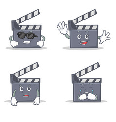 Set of movie clapper character with cool waving vector