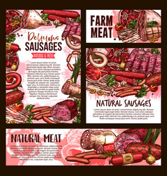 Sketch meat farm sausages product posters vector