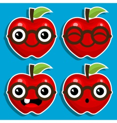 Smart Apples with Eyeglasses vector image vector image