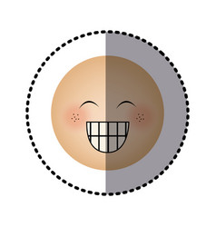 Sticker human face emoticon happines expression vector