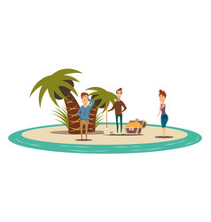 Treasure island flat composition vector
