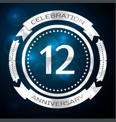 twelve years anniversary celebration with silver vector image vector image
