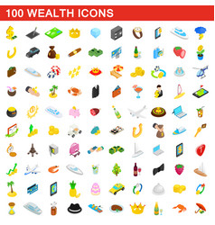 100 wealth icons set isometric 3d style vector image vector image