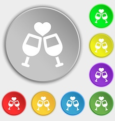 Two glasses of wine or champagne icon sign symbol vector