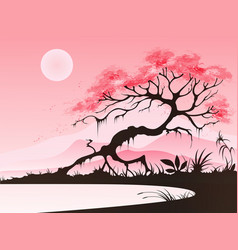 Landscape with cherry blossom vector