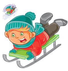 Little child slides on a sled vector