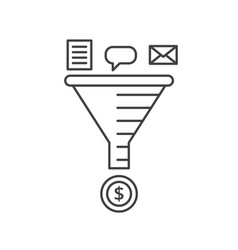 Email strategy concept sale funnel line vector