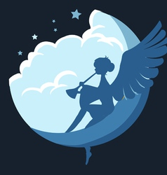 Angel on the moon vector
