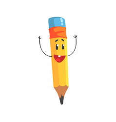 cute happy cartoon yellow pencil character with vector image