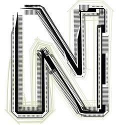 technological font LETTER N vector image