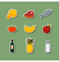 Supermarket foods items on stickers vector