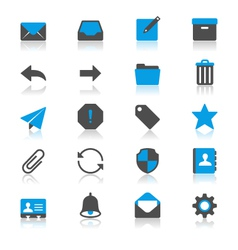 Email flat with reflection icons vector