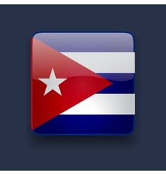 Square icon with flag of cuba vector