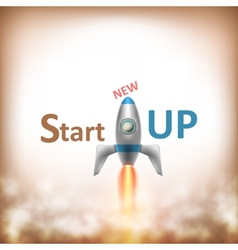 New StartUP Text With Flying Rocket vector image