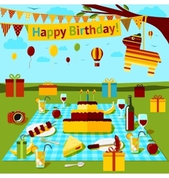 Happy birthday picnic poster with different food vector