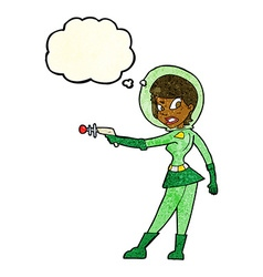 Cartoon sci fi girl with thought bubble vector