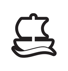 Flat icon in black and white style sailing ship vector