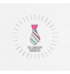 Tie concept multicolored hand-drawn doodles vector image