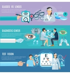 Oculist diagnostic center flat banners set vector