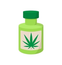 Bottle with buds of medical marijuana icon vector