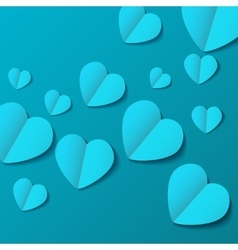Turquoise paper origami hearts valentines day card vector