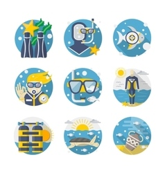 Sea leisure colored detailed flat icons set vector