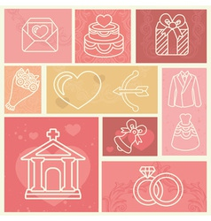 Vintage design elements with wedding and love icon vector
