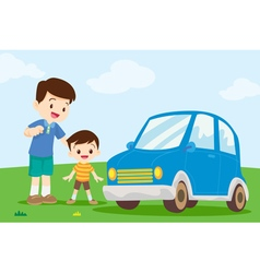 Dad and son look at car vector