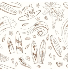 Seamless pattern with doodle sketch surfing sport vector