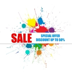 Sale banner with bright ink color blots vector
