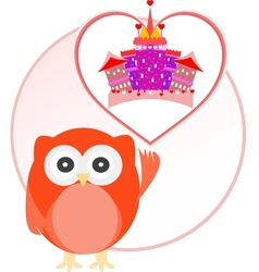 Background with owl and cute castle in love heart vector