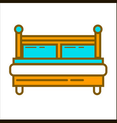 Bed with blue pillows vector