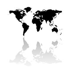 Black world map silhouette vector