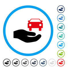 Car gift hand rounded icon vector