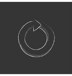 Circular arrow drawn in chalk icon vector