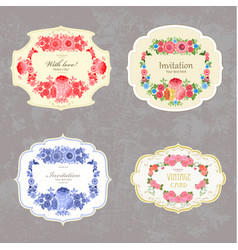 Collection of vintage labels with flowers vector