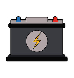 Colorful silhouette car battery icon vector