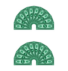 dollars laid out in a semicircle money vector image
