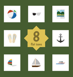 Flat icon summer set of boat surfing beach vector