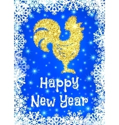Golden glitter crowing rooster on blue backdrop vector